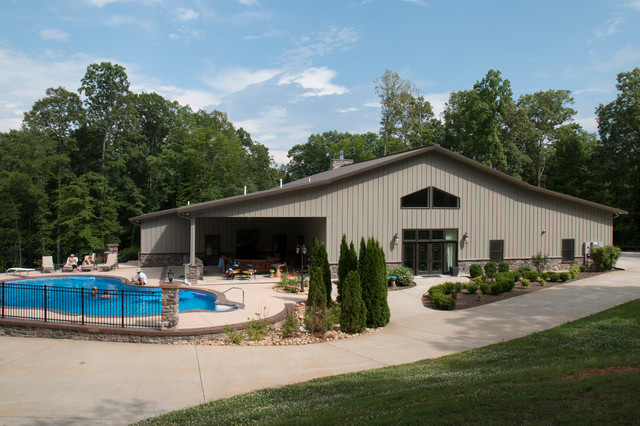 Full 42 60 metal building home w pool and chill out area for Morton building homes for sale
